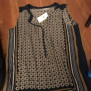 Loft blue and green printed blouse new with tags